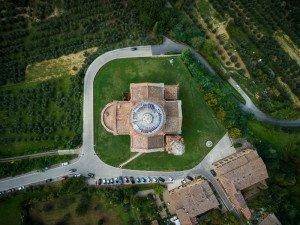 Aerial shot: The Church of San Biagio, Montepulciano