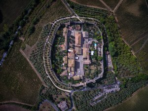 Aerial view of Monteriggioni, Tuscany